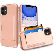 Poket Credit Card Hybrid Armor Case for iPhone 11 - Rose Gold