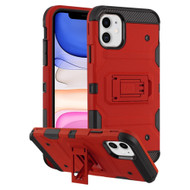 Military Grade Certified Storm Tank Hybrid Armor Case with Stand for iPhone 11 - Red