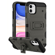 Military Grade Certified Storm Tank Hybrid Armor Case with Stand for iPhone 11 - Dark Grey
