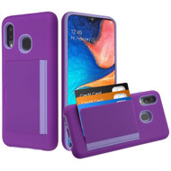 Poket Credit Card Hybrid Armor Case for Samsung Galaxy A20 - Purple