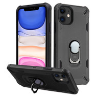 Military Grade Certified Brigade Hybrid Armor Case with Metal Ring Finger Loop Stand for iPhone 11 - Black