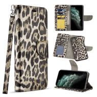 Trendy Series Leather Wallet with Detachable Magnetic Case for iPhone 11 Pro Max - Leopard