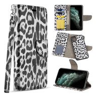 Trendy Series Leather Wallet with Detachable Magnetic Case for iPhone 11 - Leopard Silver
