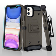 3-IN-1 Kinetic Hybrid Armor Case with Holster and Tempered Glass Screen Protector for iPhone 11 - Dark Grey