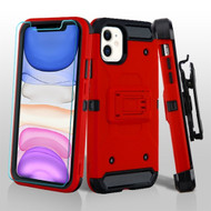3-IN-1 Kinetic Hybrid Armor Case with Holster and Tempered Glass Screen Protector for iPhone 11 - Red