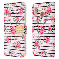 Diamond Series Luxury Bling Portfolio Leather Wallet Case for Samsung Galaxy A20 - Pink Fresh Roses