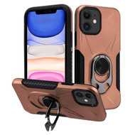 Multifunctional Hybrid Case with 360° Bottle Opener Rotating Ring Holder Kickstand for iPhone 11 - Rose Gold