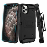 3-IN-1 Kinetic Hybrid Armor Case with Holster and Tempered Glass Screen Protector for iPhone 11 Pro Max - Black