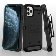 3-IN-1 Kinetic Hybrid Armor Case with Holster and Tempered Glass Screen Protector for iPhone 11 Pro - Black