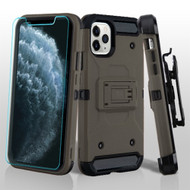3-IN-1 Kinetic Hybrid Armor Case with Holster and Tempered Glass Screen Protector for iPhone 11 Pro - Dark Grey