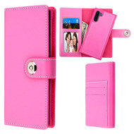 *Sale* 2-IN-1 Premium Leather Wallet with Removable Magnetic Case for Samsung Galaxy Note 10 - Hot Pink