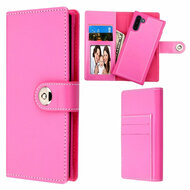 2-IN-1 Premium Leather Wallet with Removable Magnetic Case for Samsung Galaxy Note 10 - Hot Pink
