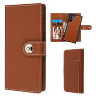 2-IN-1 Premium Leather Wallet with Removable Magnetic Case for Samsung Galaxy Note 10 - Brown