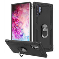 *Sale* Finger Loop Armor Hybrid Case with 360° Rotating Ring Holder Kickstand for Samsung Galaxy Note 10 Plus - Black