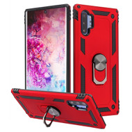 Finger Loop Armor Hybrid Case with 360° Rotating Ring Holder Kickstand for Samsung Galaxy Note 10 Plus - Red