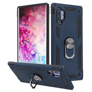 Finger Loop Armor Hybrid Case with 360° Rotating Ring Holder Kickstand for Samsung Galaxy Note 10 Plus - Navy Blue