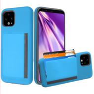 Poket Credit Card Hybrid Armor Case for Google Pixel 4 XL - Blue