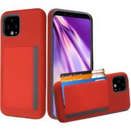 Poket Credit Card Hybrid Armor Case for Google Pixel 4 XL - Red