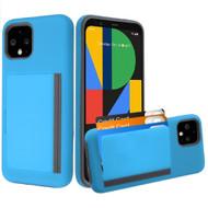 Poket Credit Card Hybrid Armor Case for Google Pixel 4 - Blue