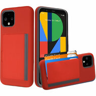 Poket Credit Card Hybrid Armor Case for Google Pixel 4 - Red
