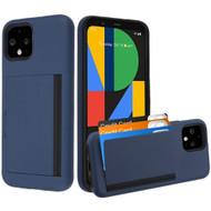 Poket Credit Card Hybrid Armor Case for Google Pixel 4 - Navy Blue