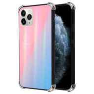 *Sale* Scratch Resistant Tempered Glass Air Cushion TPU Fusion Case for iPhone 11 Pro - Iridescent Pink Blue
