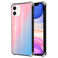 *Sale* Scratch Resistant Tempered Glass Air Cushion TPU Fusion Case for iPhone 11 - Iridescent Pink Blue