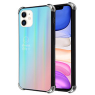 *Sale* Scratch Resistant Tempered Glass Air Cushion TPU Fusion Case for iPhone 11 - Iridescent Blue Pink