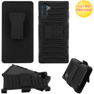 Advanced Armor Hybrid Kickstand Case with Holster Belt Clip for Samsung Galaxy Note 10 - Black 201