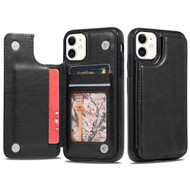 Stow Wallet Leather Hybrid Case with 3 Card Compartment for iPhone 11 - Black