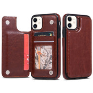 Stow Wallet Leather Hybrid Case with 3 Card Compartment for iPhone 11 - Brown