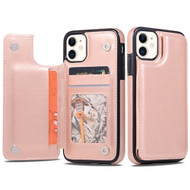 Stow Wallet Leather Hybrid Case with 3 Card Compartment for iPhone 11 - Rose Gold