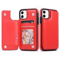 Stow Wallet Leather Hybrid Case with 3 Card Compartment for iPhone 11 - Red