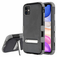 Military Grade Certified TUFF Hybrid Armor Case with Kickstand for iPhone 11 - Black Grey
