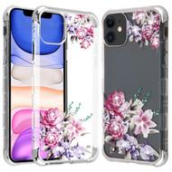 TUFF Klarity Lux Diamond Transparent TPU Case for iPhone 11 - Romantic Love Flowers