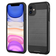 Brushed Coated Hybrid Armor Case for iPhone 11 - Black