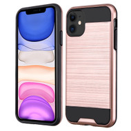 Brushed Coated Hybrid Armor Case for iPhone 11 - Rose Gold