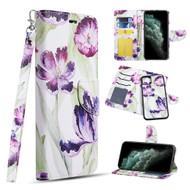 Trendy Series Leather Wallet with Detachable Magnetic Case for iPhone 11 Pro Max - Purple Tulip