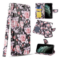 Trendy Series Leather Wallet with Detachable Magnetic Case for iPhone 11 Pro - Pink Roses
