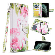 Trendy Series Leather Wallet with Detachable Magnetic Case for iPhone 11 - Flamingo