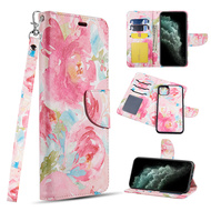 Trendy Series Leather Wallet with Detachable Magnetic Case for iPhone 11 - Watercolor Flower