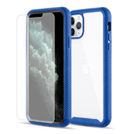 *Sale* Tough Fusion-X 2-Piece Hybrid Armor Case and Tempered Glass Screen Protector for iPhone 11 Pro Max - Blue