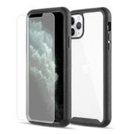 Tough Fusion-X 2-Piece Hybrid Armor Case and Tempered Glass Screen Protector for iPhone 11 Pro - Black