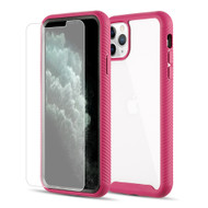 *Sale* Tough Fusion-X 2-Piece Hybrid Armor Case and Tempered Glass Screen Protector for iPhone 11 Pro - Hot Pink
