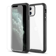 Tough Fusion-X 2-Piece Hybrid Armor Case and Tempered Glass Screen Protector for iPhone 11 - Black