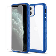Tough Fusion-X 2-Piece Hybrid Armor Case and Tempered Glass Screen Protector for iPhone 11 - Blue