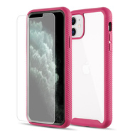 Tough Fusion-X 2-Piece Hybrid Armor Case and Tempered Glass Screen Protector for iPhone 11 - Hot Pink