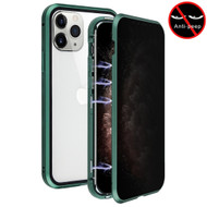 Magnetic Adsorption Aluminum Bumper Case with Privacy Tempered Glass Screen Protector for iPhone 11 Pro Max - Green