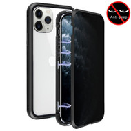 Magnetic Adsorption Aluminum Bumper Case with Privacy Tempered Glass Screen Protector for iPhone 11 Pro - Black