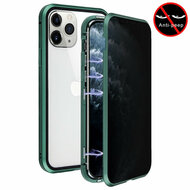 *Sale* Magnetic Adsorption Aluminum Bumper Case with Privacy Tempered Glass Screen Protector for iPhone 11 Pro - Midnight Green